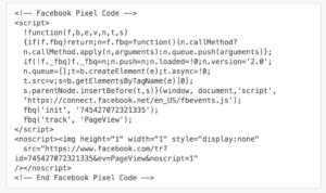 Code retargeting Facebook